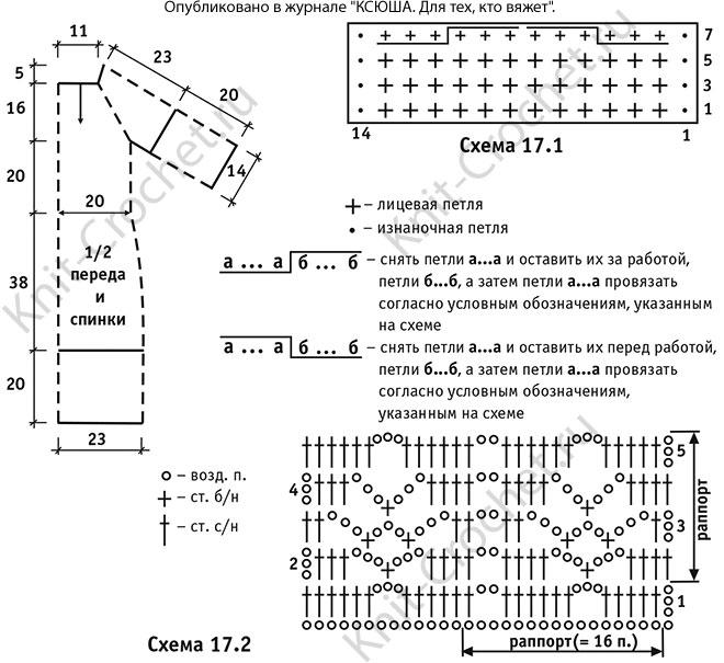 Выкройка, схемы узоров с описанием вязания спицами платья-туники размера 46-48.