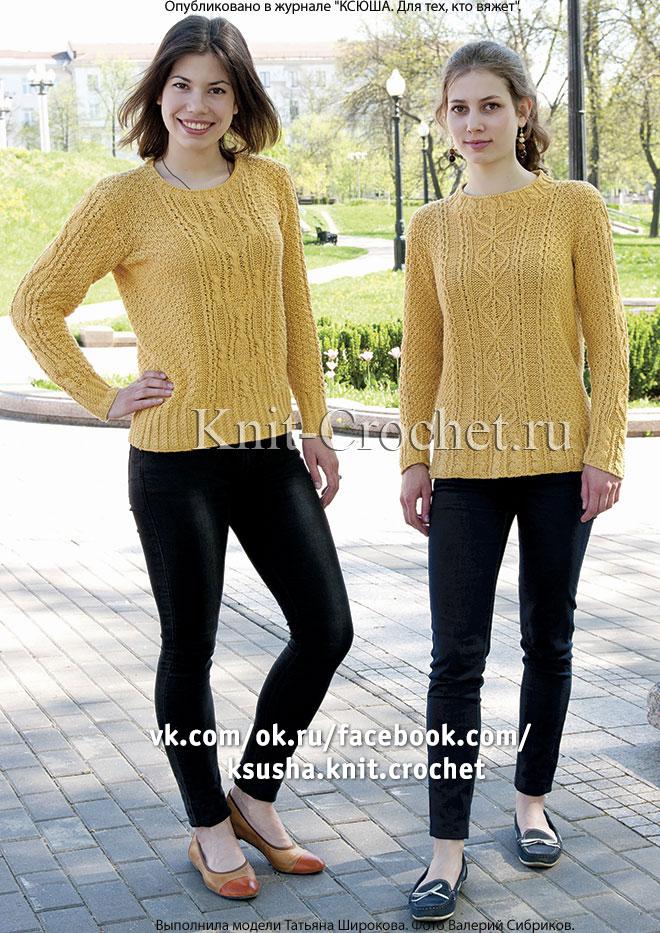 Женские пуловеры спортивного стиля размера 44-46, связанные на спицах.
