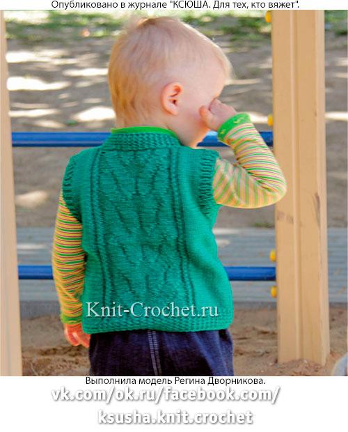 Вязание спицами детям до года-жилет