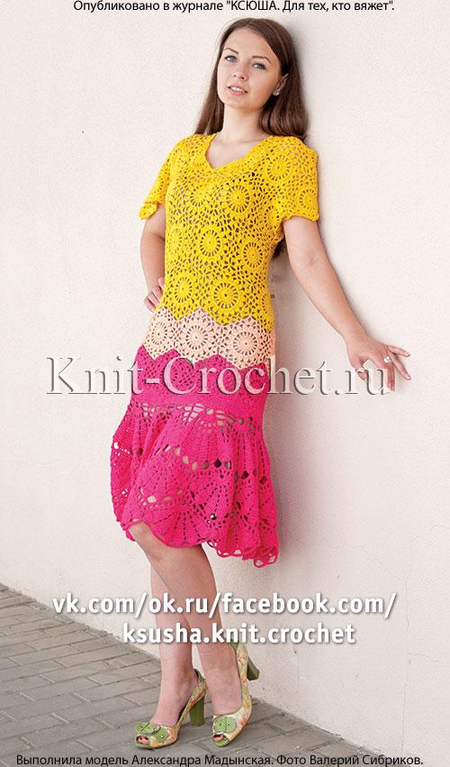 Вязание крючком в круговую платье