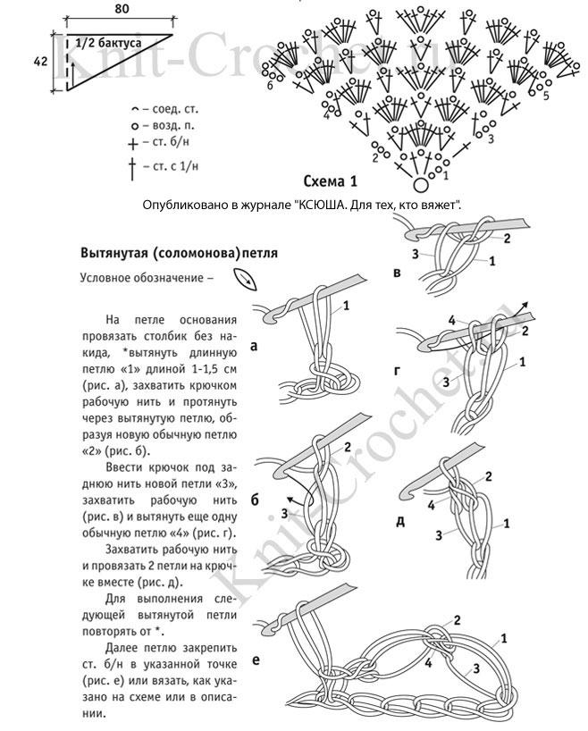 Схема вязания шали соломоновыми петлями крючком 470