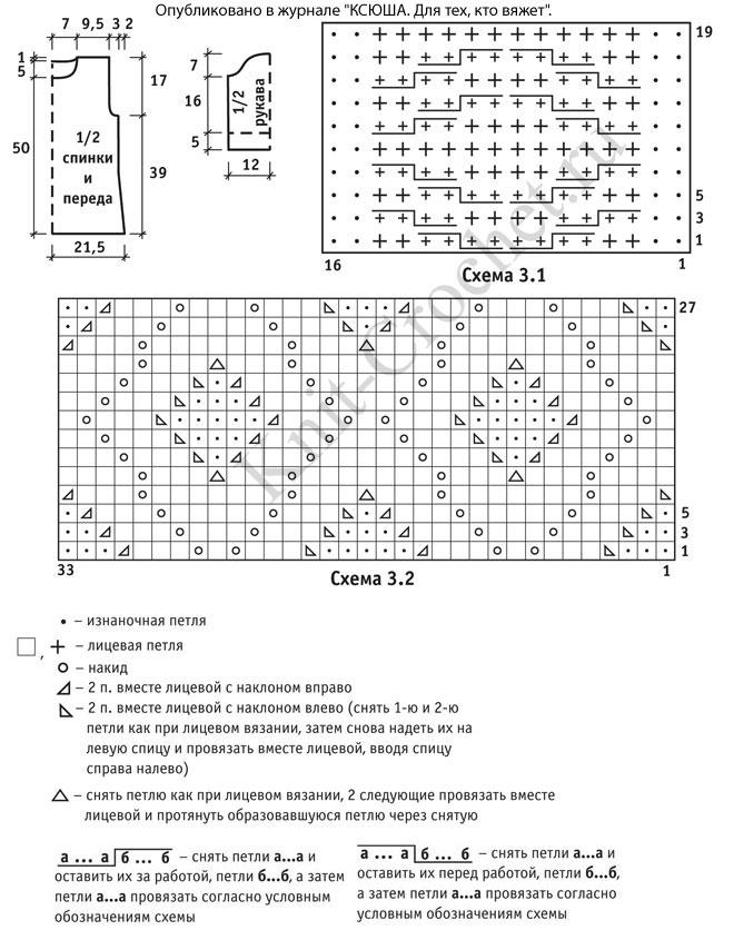 Выкройка, схемы узоров и обозначения для вязания спицами женского свитера с короткими рукавами.