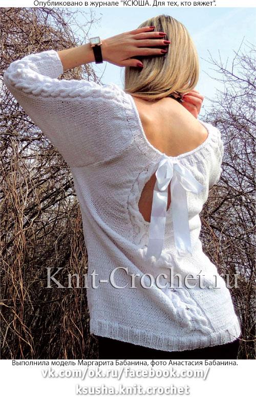 Женский пуловер с завязкой на спинке, связанный на спицах(вид сзади).