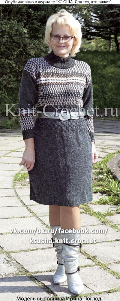 Жаккардовое платье вязаное спицами
