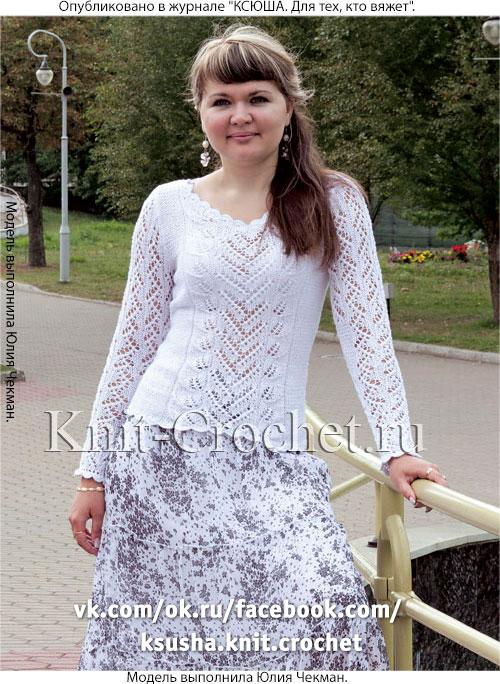 Женский пуловер с ажурными узорами размера 42-44, связанный на спицах.