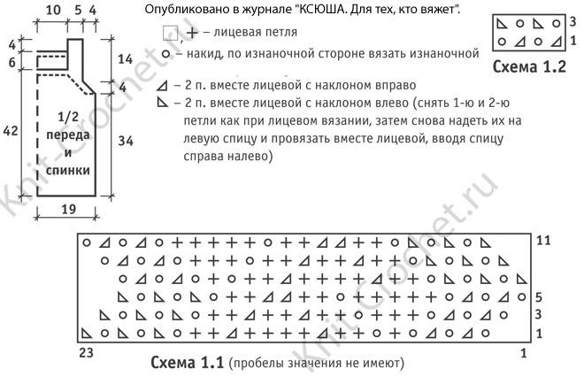 Выкройка и схемы узоров с описанием вязания спицами женского топа 42-44 размера.