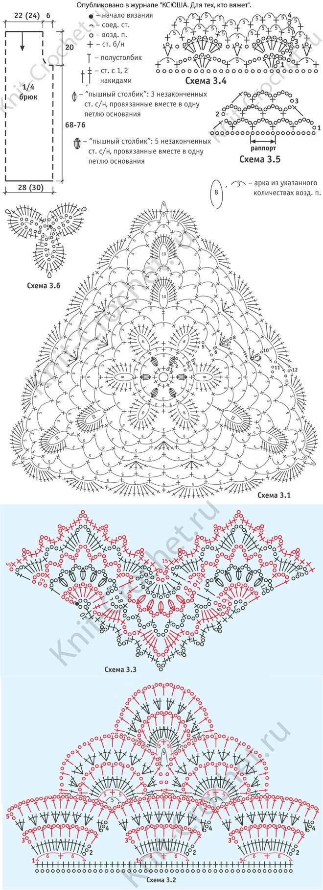 Выкройка, схемы узоров с описанием вязания крючком женского пляжного комбинезона размера 42.