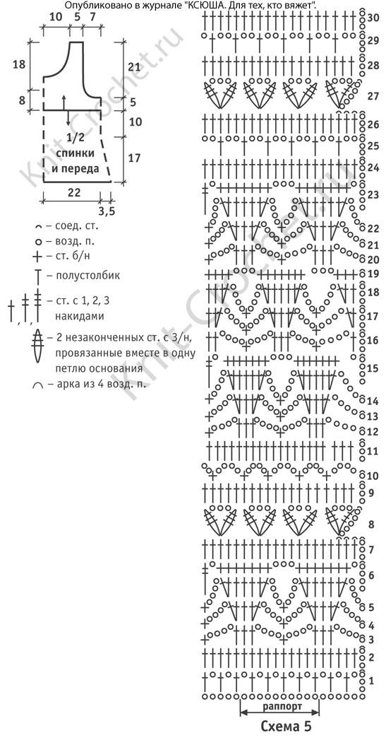 Выкройка, схемы узоров с описанием вязания крючком женского топа размера 42-44 (европейский 36-38).