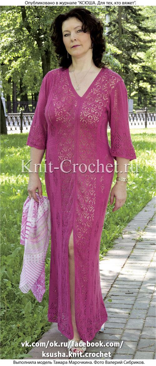 Связанное на спицах платье с асимметричными полочками 50-52 размера.