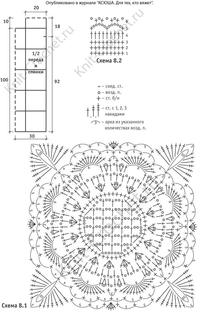 Вязание спицамиузор ракушки 74