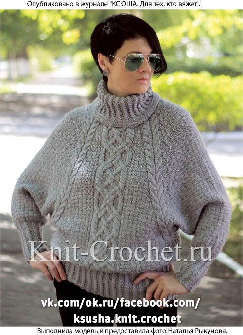 свитер спицами с рукавом летучая мышь Cвитеры женские на спицах