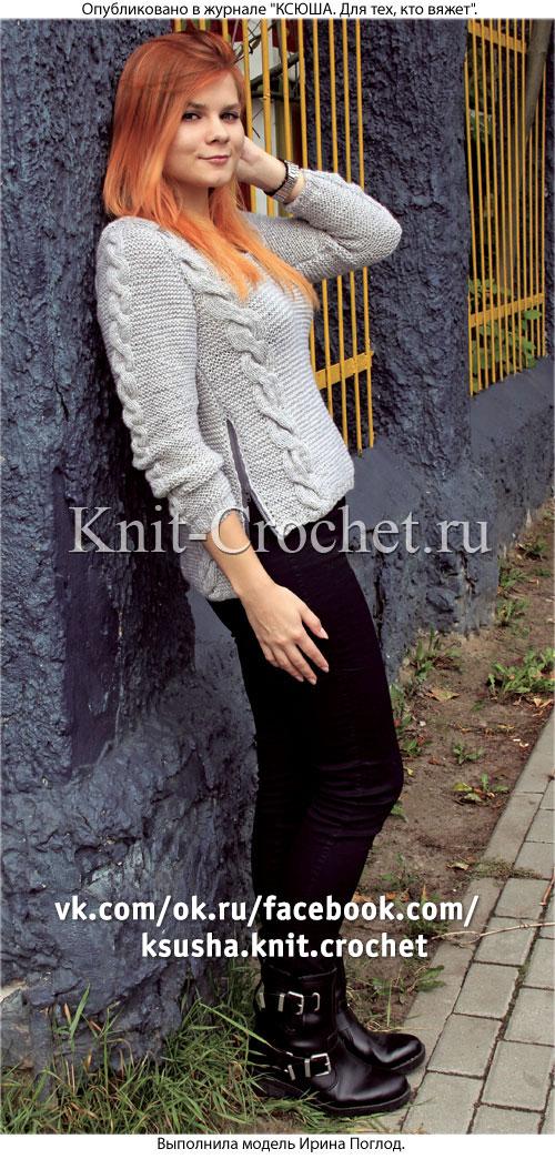 Женский пуловер размера 42-44 с молнией по бокам, связанный на спицах.