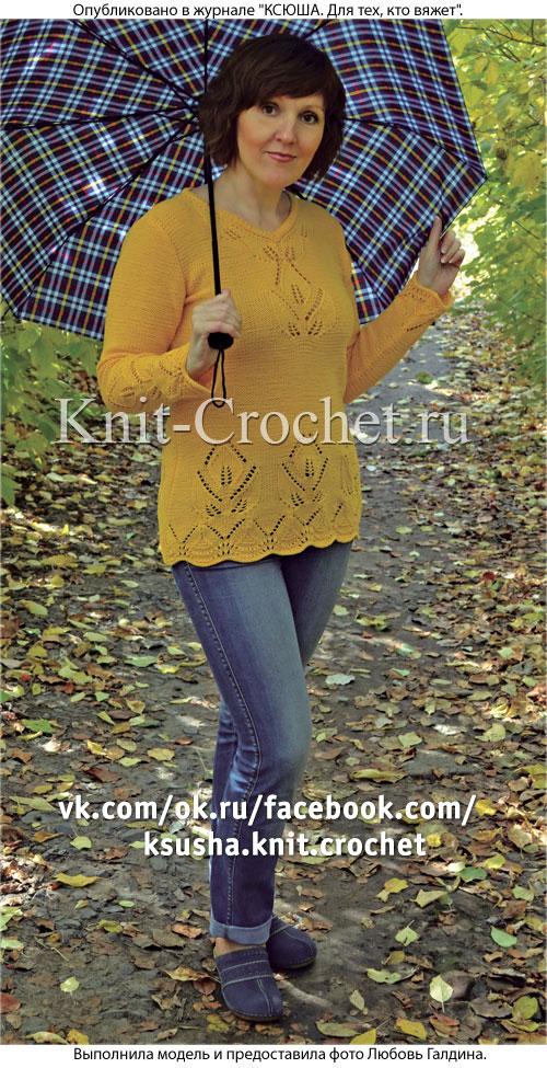 Женский пуловер c цветочным мотивом размера 44-46, связанный на спицах.