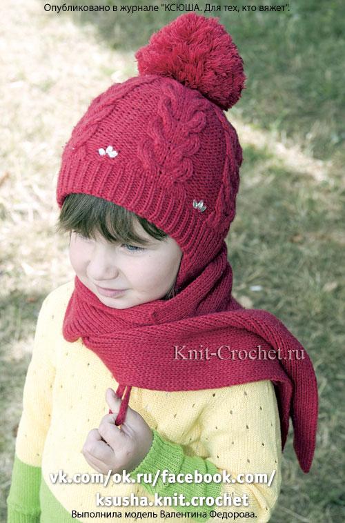 Двухслойная шапочка и шарф на спицах. - Девочкам на спицах ...