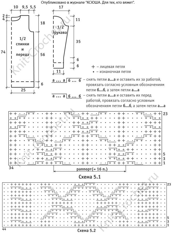 Выкройка, схемы узоров с описанием вязания спицами туники с рельефными узорами 44-46 размера .
