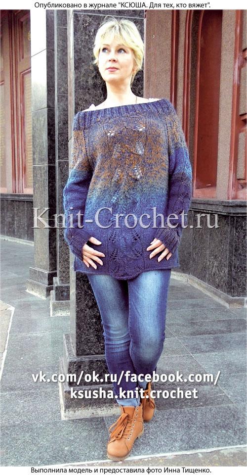 Женский пуловер-реглан размера 46, связанный на спицах.