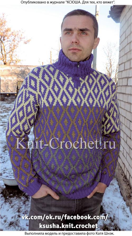 Связанный на спицах мужской свитер поло 46 размера.