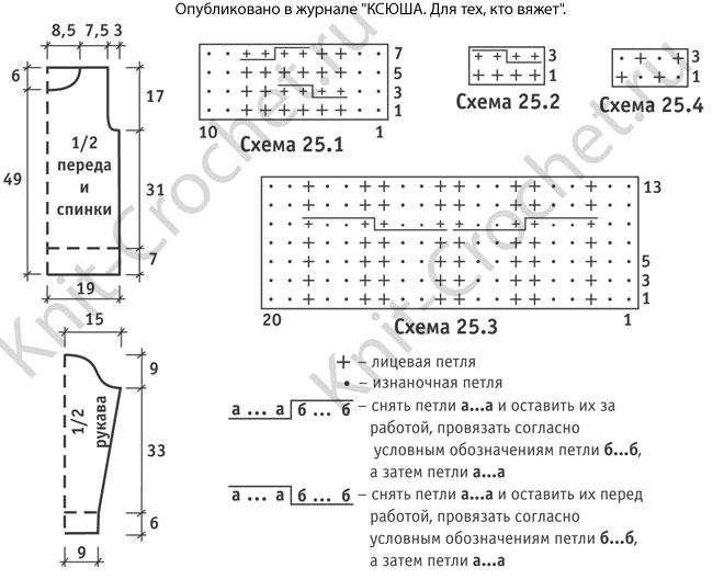 Выкройка, схемы узоров с описанием вязания спицами свитера для мальчика на рост 138-140 см.