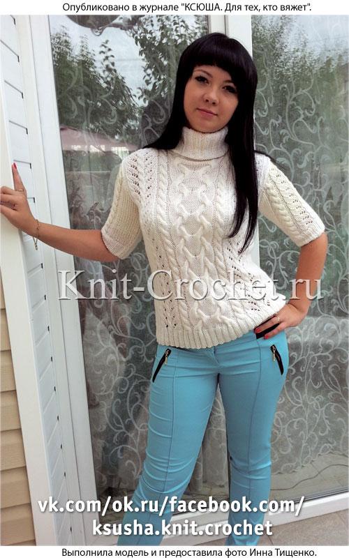 Связанный на спицах женский свитер с короткими рукавами размера 44-46.
