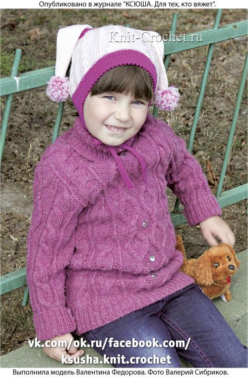Шапочка c длинными ушками 50 размера для девочки, вязанная на спицах.
