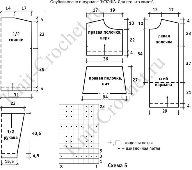 Выкройка, схемы узоров с описанием вязания спицами женской туники «Джаз».
