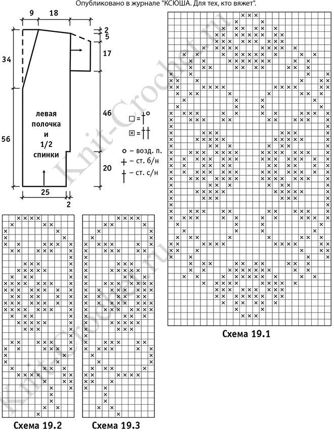 Выкройка, схемы узоров с описанием вязания крючком кардигана с короткими рукавами размера 44-46.
