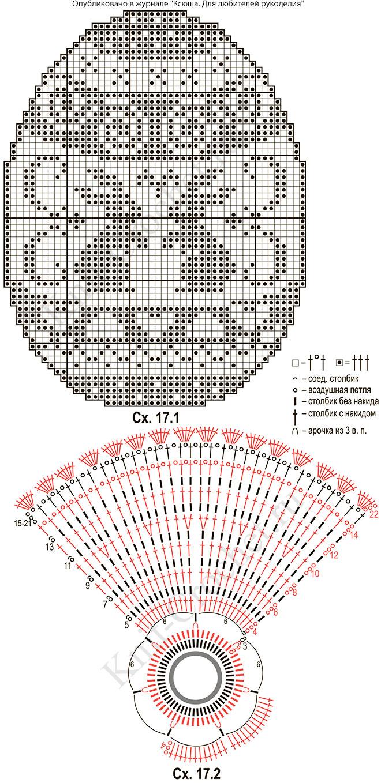 Схемы вязания крючком салфеток пасхальных 35