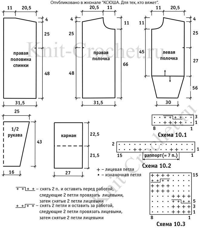 Выкройка, схемы узоров с описанием вязания спицами кардигана в стиле бохо размера 46-50.