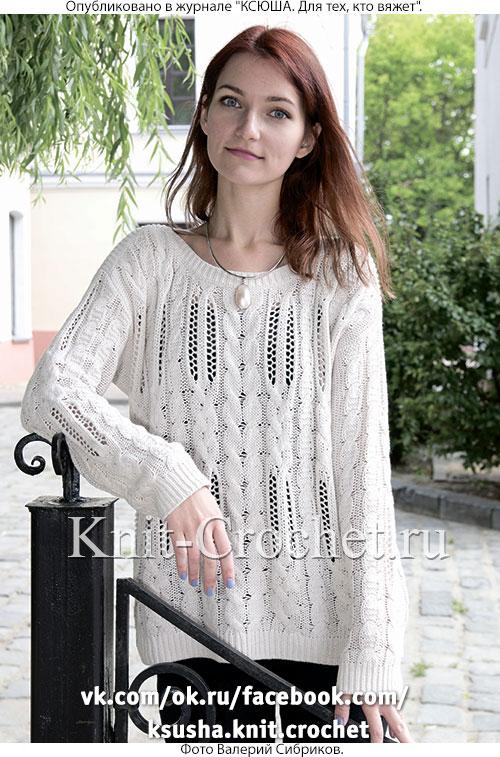 Женский пуловер с вырезом «лодочка» размера 46-48, связанный на спицах.
