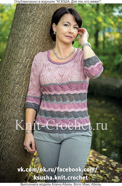 Ажурный пуловер с рукавом 3/4 размера 44, связанный на спицах.