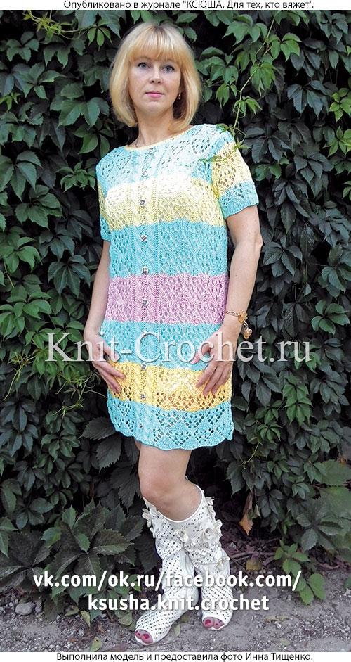 Связанное на спицах платье «Цветочная поляна» 46-48 размера.