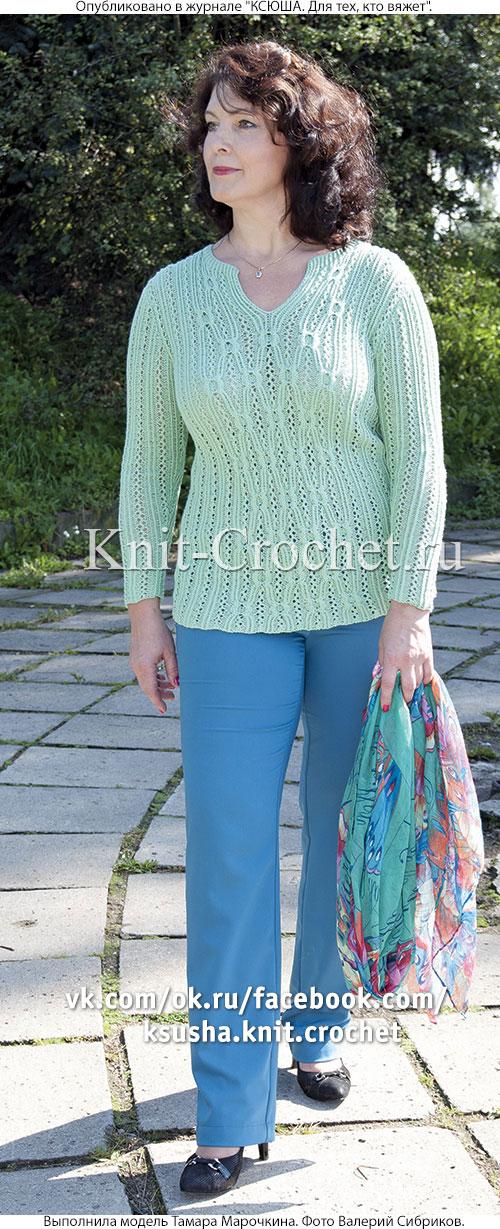 Женский пуловер поло с рукавом 3/4 размера 50-52, связанный на спицах.