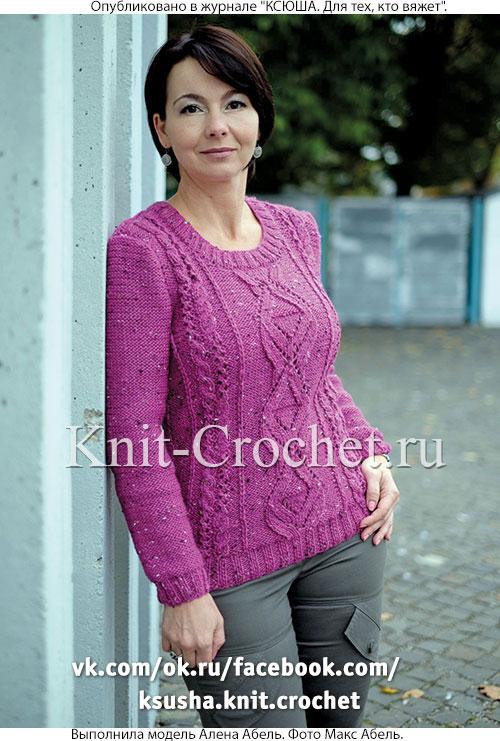 Женский пуловер из твида размера 46-48, связанный на спицах.