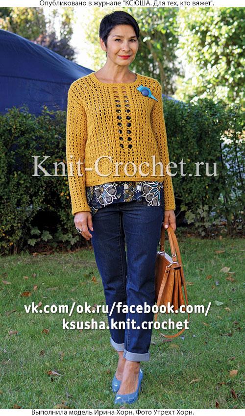 Вязанный крючком женский пуловер размера 44-46.