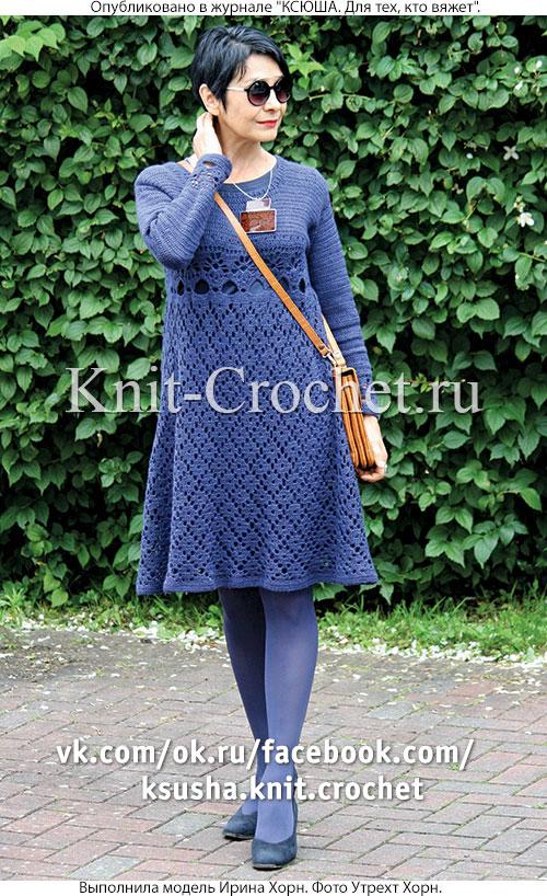 Связанное крючком платье 44-46 размера.