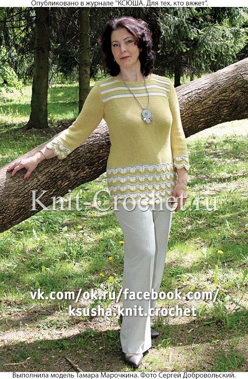 Женский удлиненный пуловер с каймой размера 50-52, связанный на спицах.