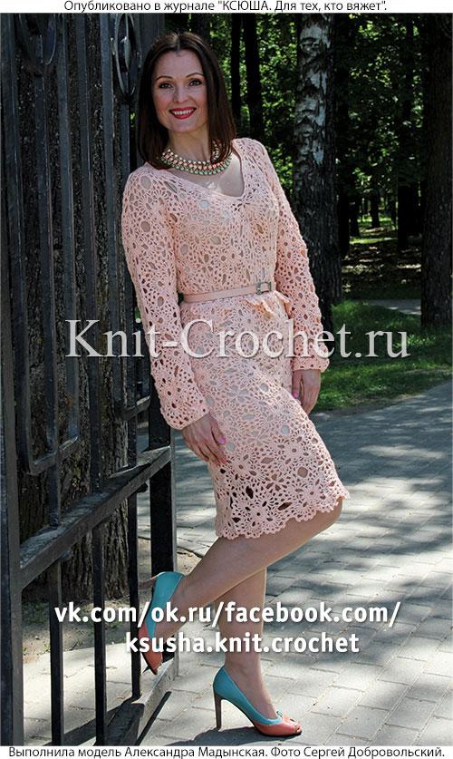 платье из квадратных мотивов крючком платья связанные крючком